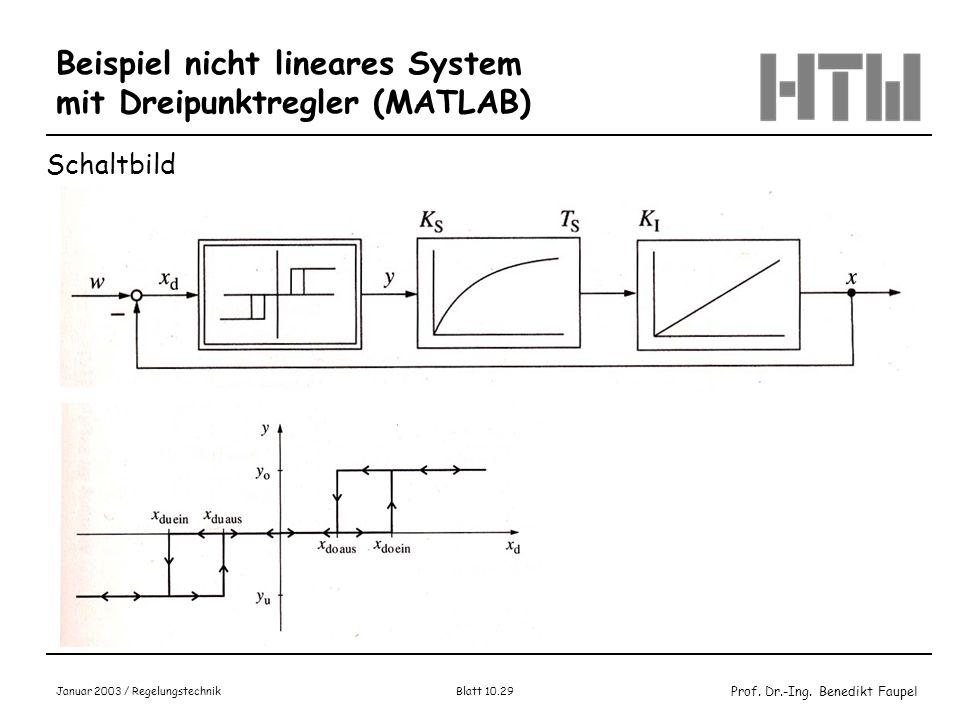 Beispiel nicht lineares System mit Dreipunktregler (MATLAB)
