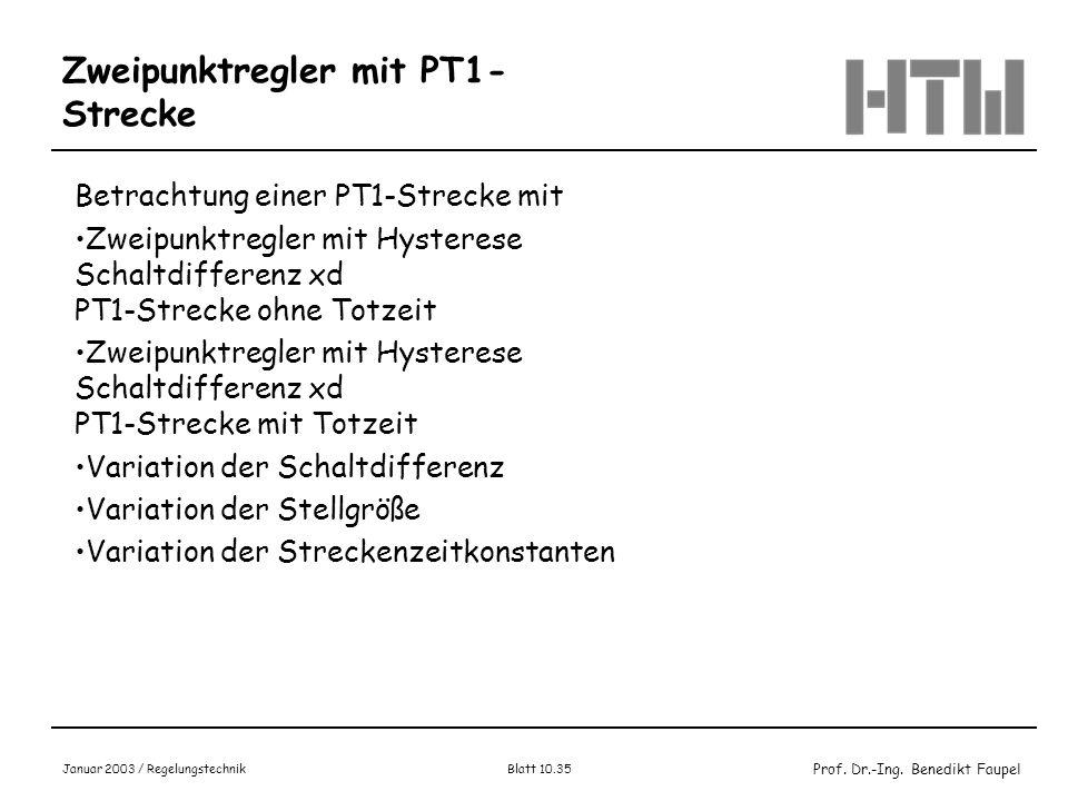 Zweipunktregler mit PT1-Strecke