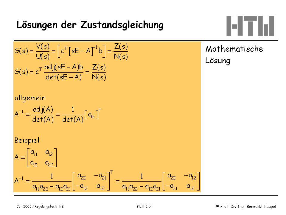 Lösungen der Zustandsgleichung
