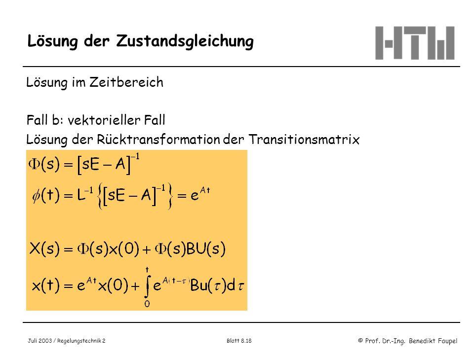 Lösung der Zustandsgleichung