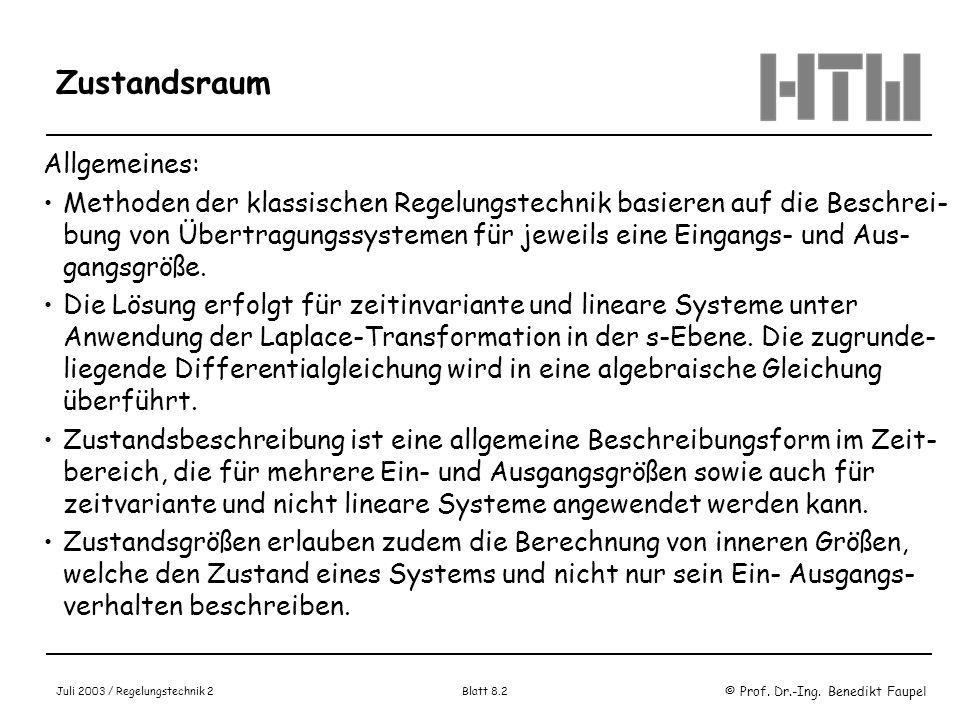 Zustandsraum Allgemeines: