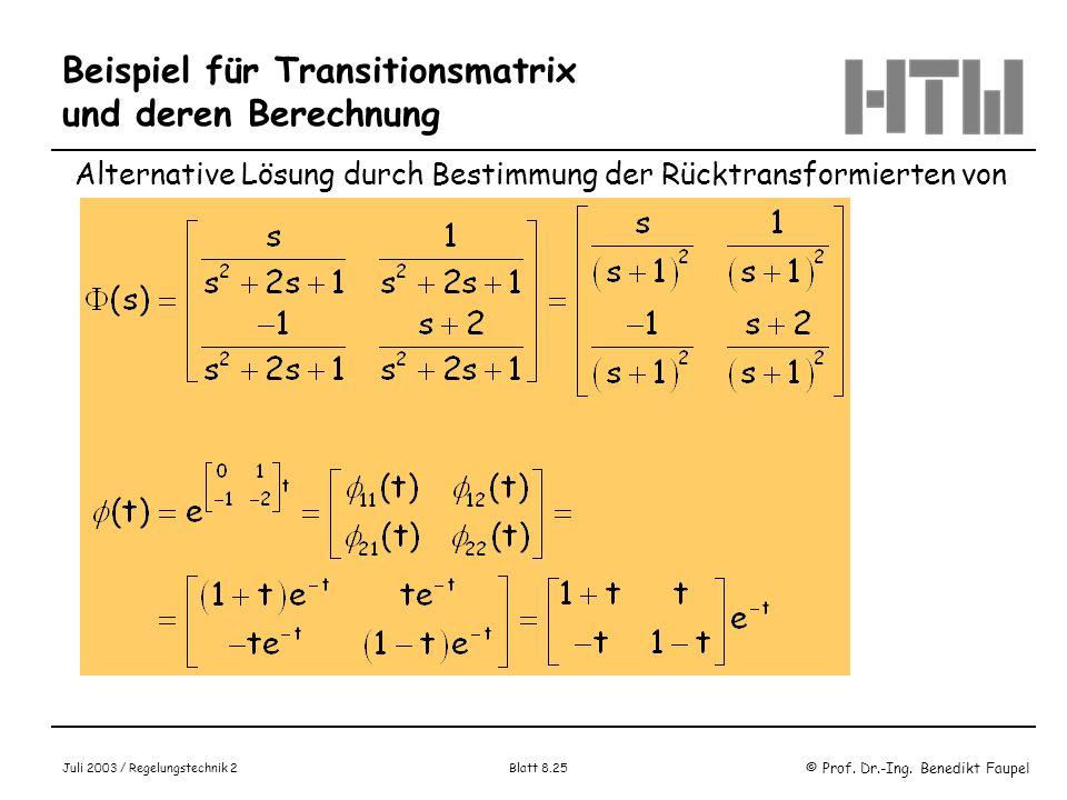 Beispiel für Transitionsmatrix und deren Berechnung