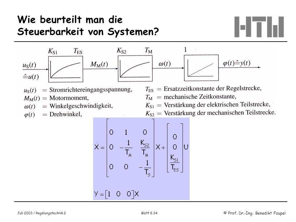 Wie beurteilt man die Steuerbarkeit von Systemen