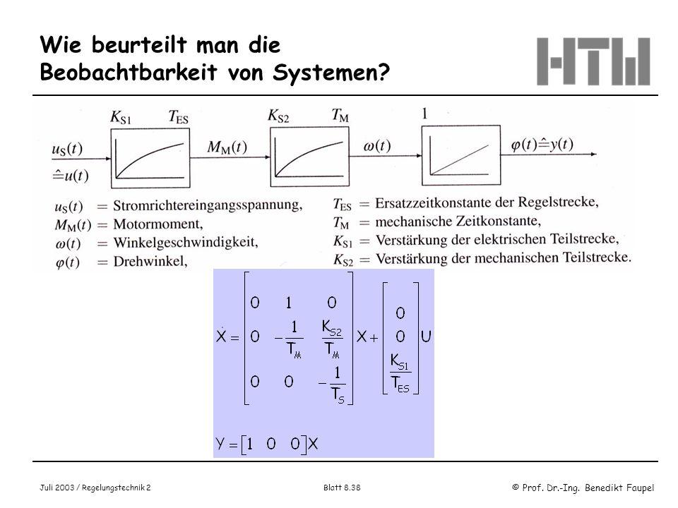 Wie beurteilt man die Beobachtbarkeit von Systemen