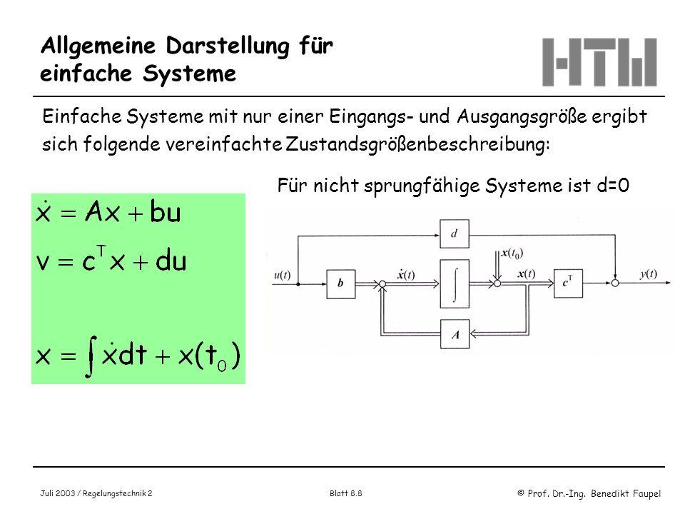Allgemeine Darstellung für einfache Systeme