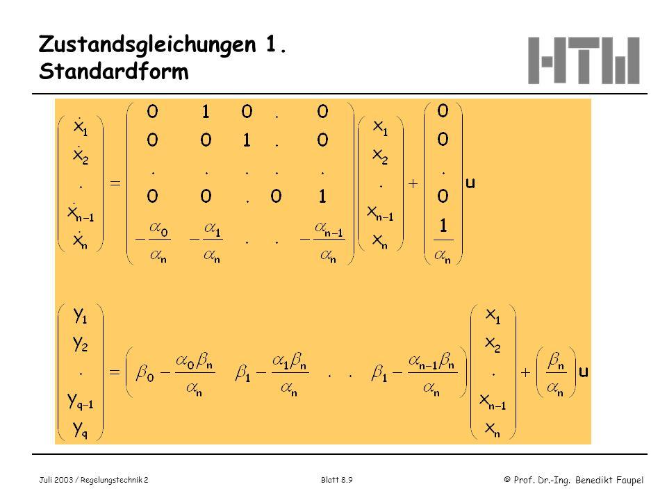 Zustandsgleichungen 1. Standardform