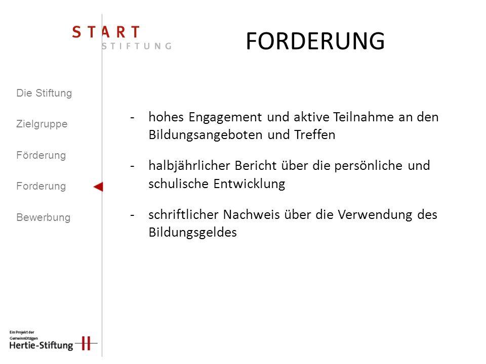 FORDERUNG Die Stiftung. Zielgruppe. Förderung. Forderung. Bewerbung. hohes Engagement und aktive Teilnahme an den Bildungsangeboten und Treffen.