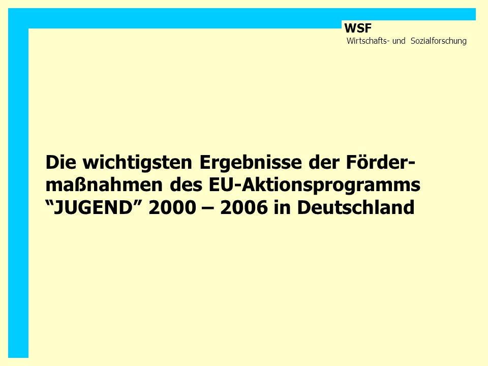 Die wichtigsten Ergebnisse der Förder- maßnahmen des EU-Aktionsprogramms JUGEND 2000 – 2006 in Deutschland