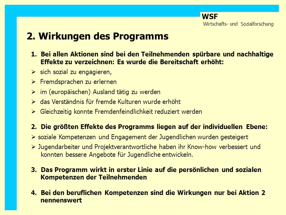 2. Wirkungen des Programms