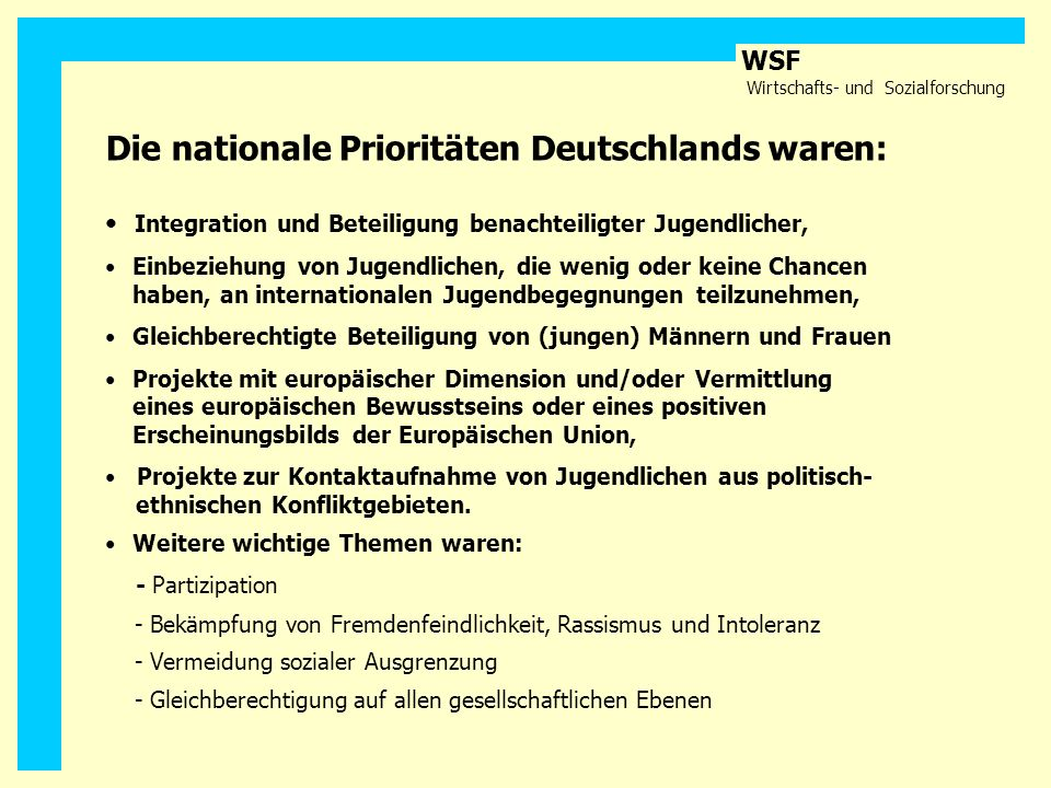 Die nationale Prioritäten Deutschlands waren: