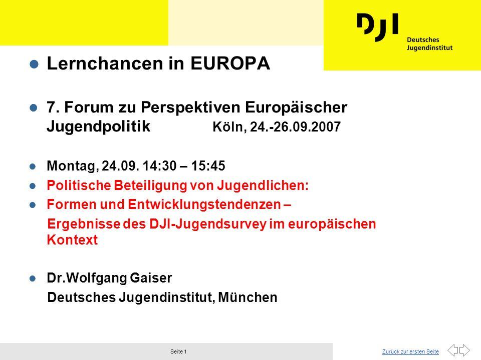 Lernchancen in EUROPA 7. Forum zu Perspektiven Europäischer Jugendpolitik Köln, 24.-26.09.2007.