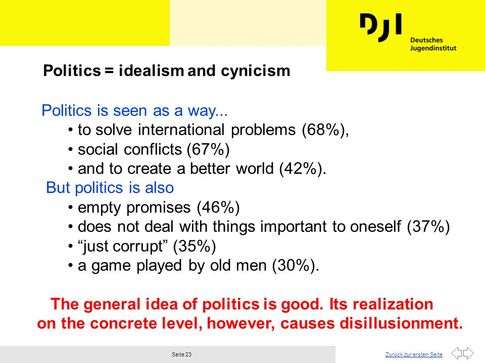 Politics = idealism and cynicism