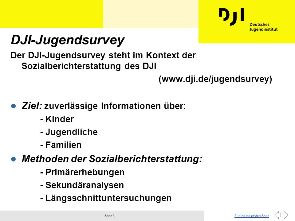 DJI-Jugendsurvey Ziel: zuverlässige Informationen über: