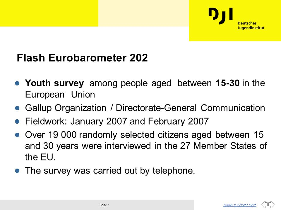 Flash Eurobarometer 202 Youth survey among people aged between 15-30 in the European Union.
