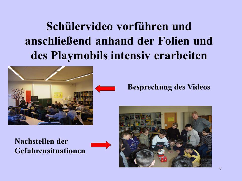Schülervideo vorführen und anschließend anhand der Folien und des Playmobils intensiv erarbeiten