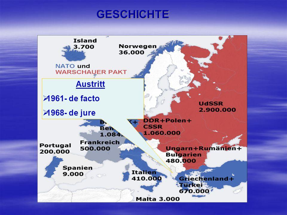 GESCHICHTE Austritt 1961- de facto 1968- de jure