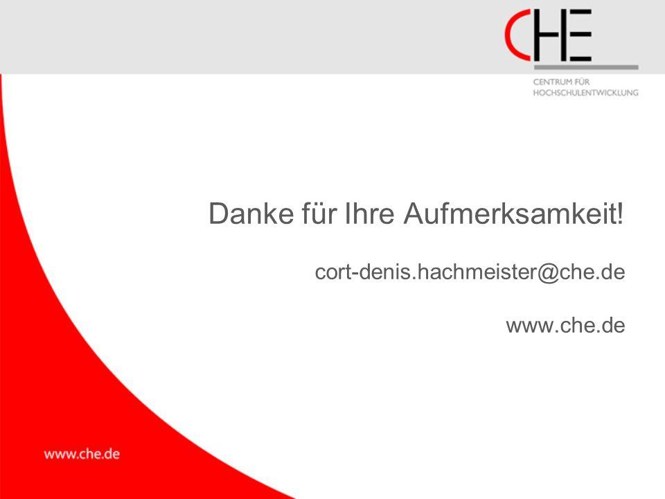 Danke für Ihre Aufmerksamkeit! cort-denis.hachmeister@che.de www.che.de