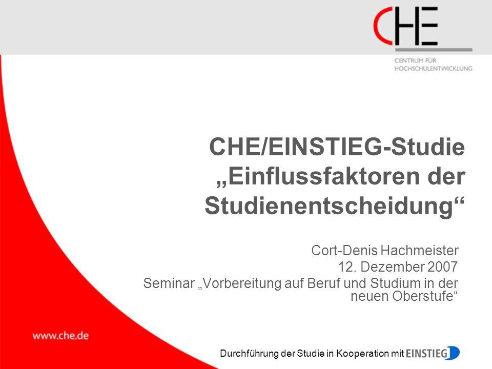 """CHE/EINSTIEG-Studie """"Einflussfaktoren der Studienentscheidung"""