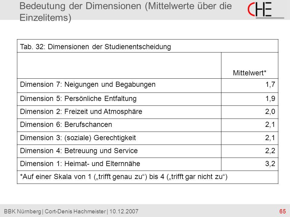 Bedeutung der Dimensionen (Mittelwerte über die Einzelitems)