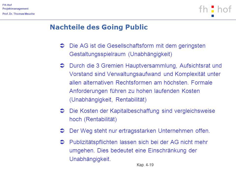 Nachteile des Going Public