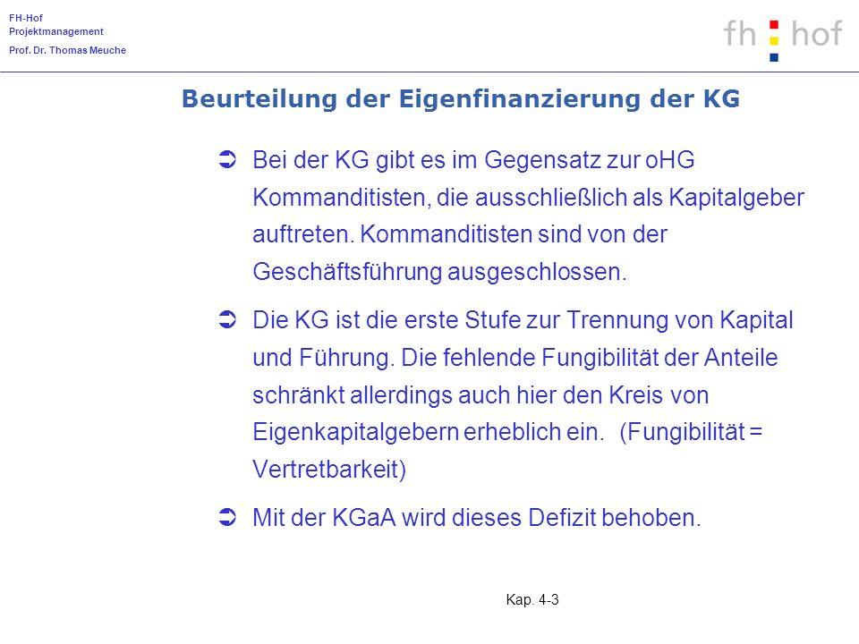 Beurteilung der Eigenfinanzierung der KG