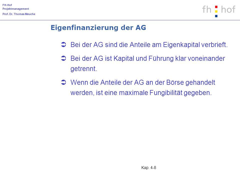 Eigenfinanzierung der AG