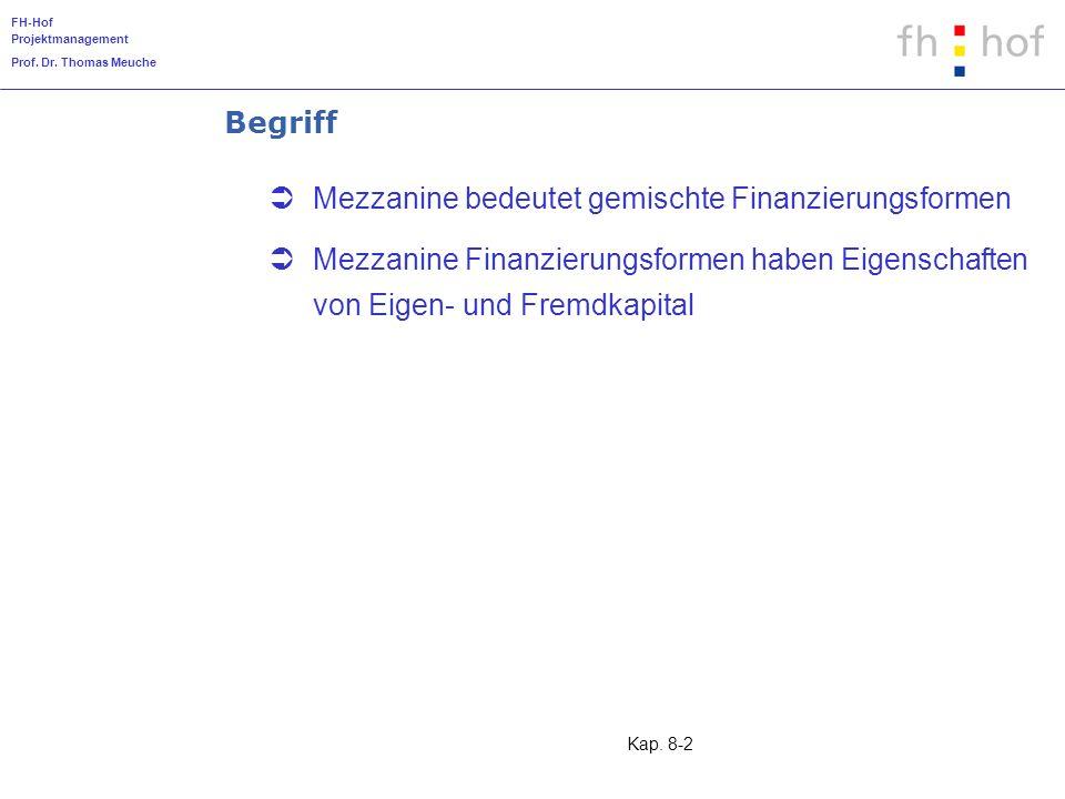 Begriff Mezzanine bedeutet gemischte Finanzierungsformen.
