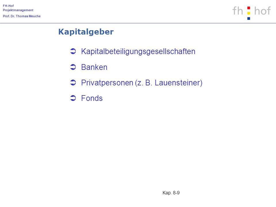 Kapitalgeber Kapitalbeteiligungsgesellschaften Banken Privatpersonen (z. B. Lauensteiner) Fonds