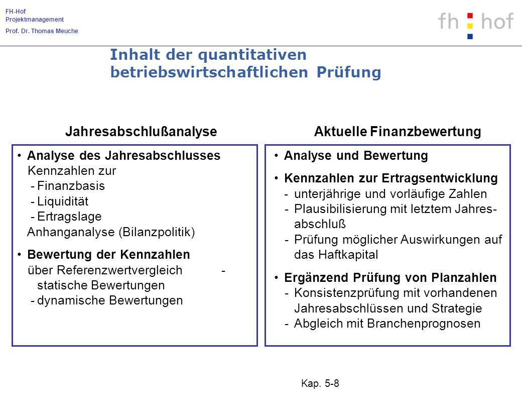 Inhalt der quantitativen betriebswirtschaftlichen Prüfung