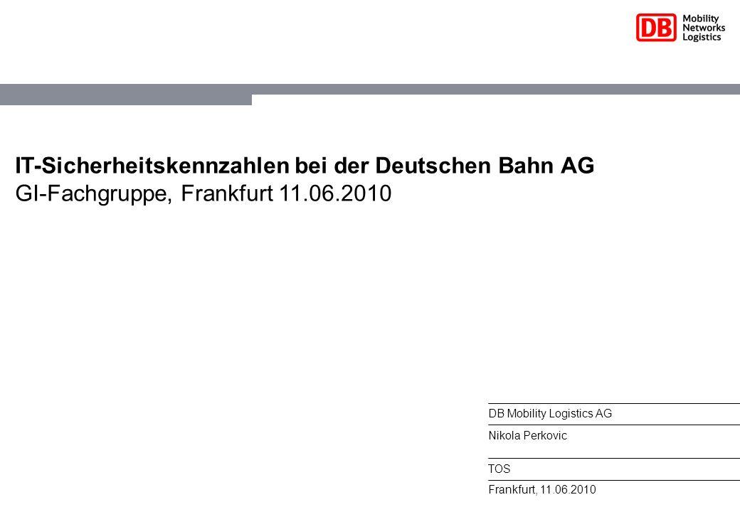 IT-Sicherheitskennzahlen bei der Deutschen Bahn AG GI-Fachgruppe, Frankfurt 11.06.2010