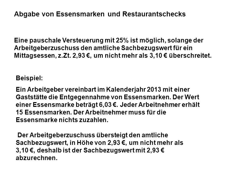 Abgabe von Essensmarken und Restaurantschecks