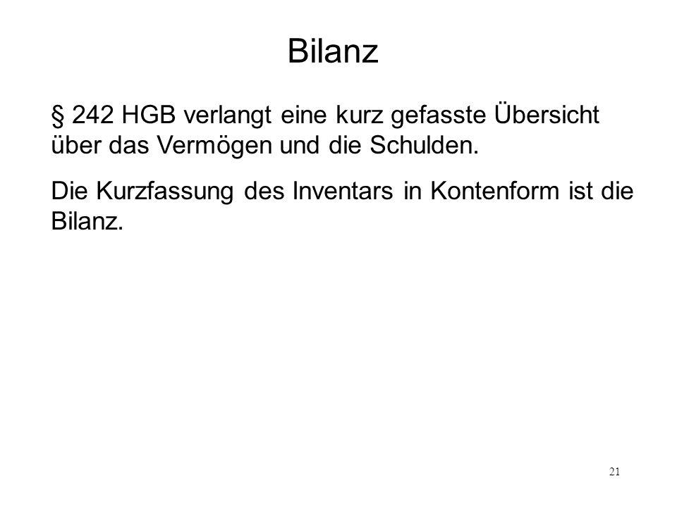 Bilanz§ 242 HGB verlangt eine kurz gefasste Übersicht über das Vermögen und die Schulden.