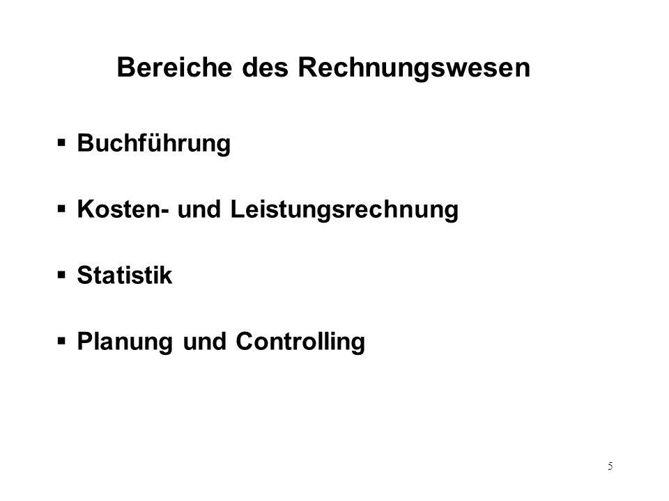 Bereiche des Rechnungswesen