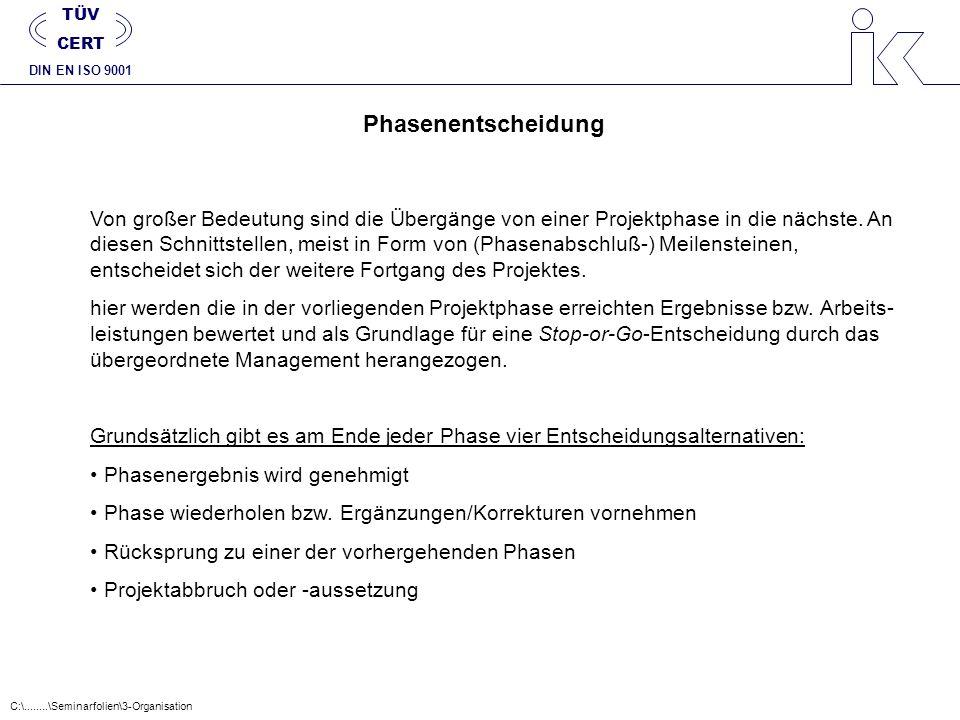 TÜV CERT. DIN EN ISO 9001. Phasenentscheidung.