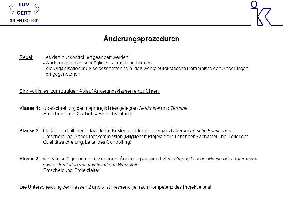 Änderungsprozeduren TÜV CERT