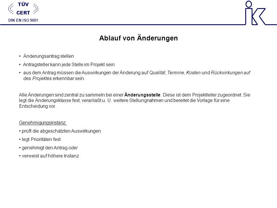 Ablauf von Änderungen TÜV CERT Änderungsantrag stellen