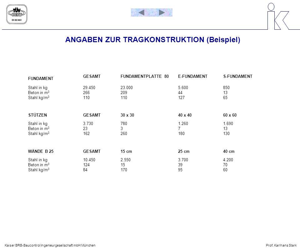 ANGABEN ZUR TRAGKONSTRUKTION (Beispiel)