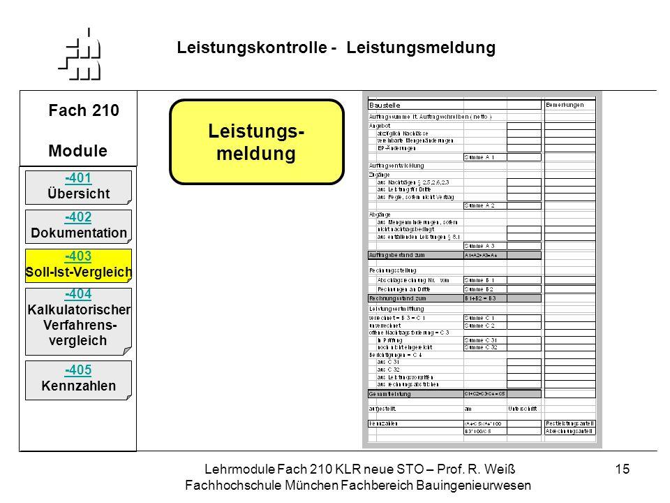 Leistungs- meldung Leistungskontrolle - Leistungsmeldung Fach 210