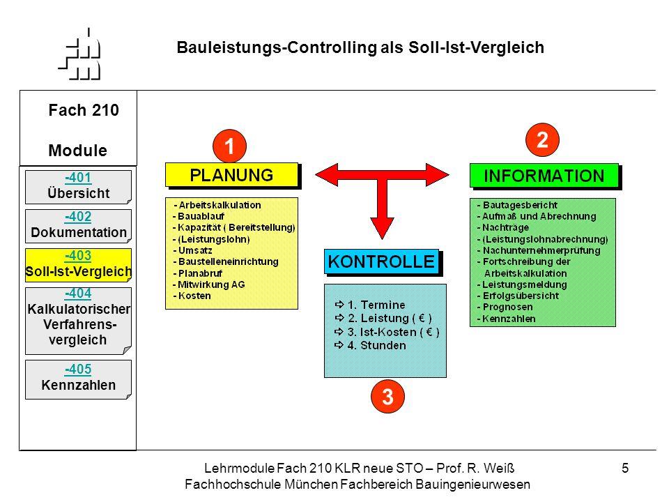 2 1 3 Bauleistungs-Controlling als Soll-Ist-Vergleich Fach 210 Module