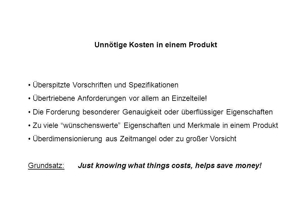 Unnötige Kosten in einem Produkt