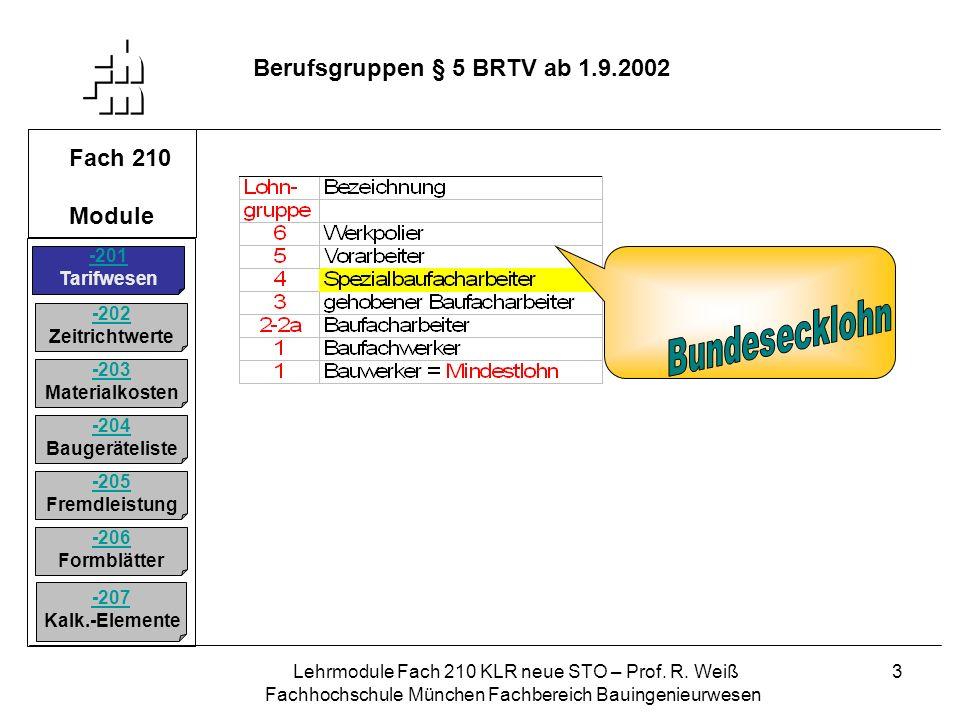 Bundesecklohn Berufsgruppen § 5 BRTV ab 1.9.2002 Fach 210 Module -201