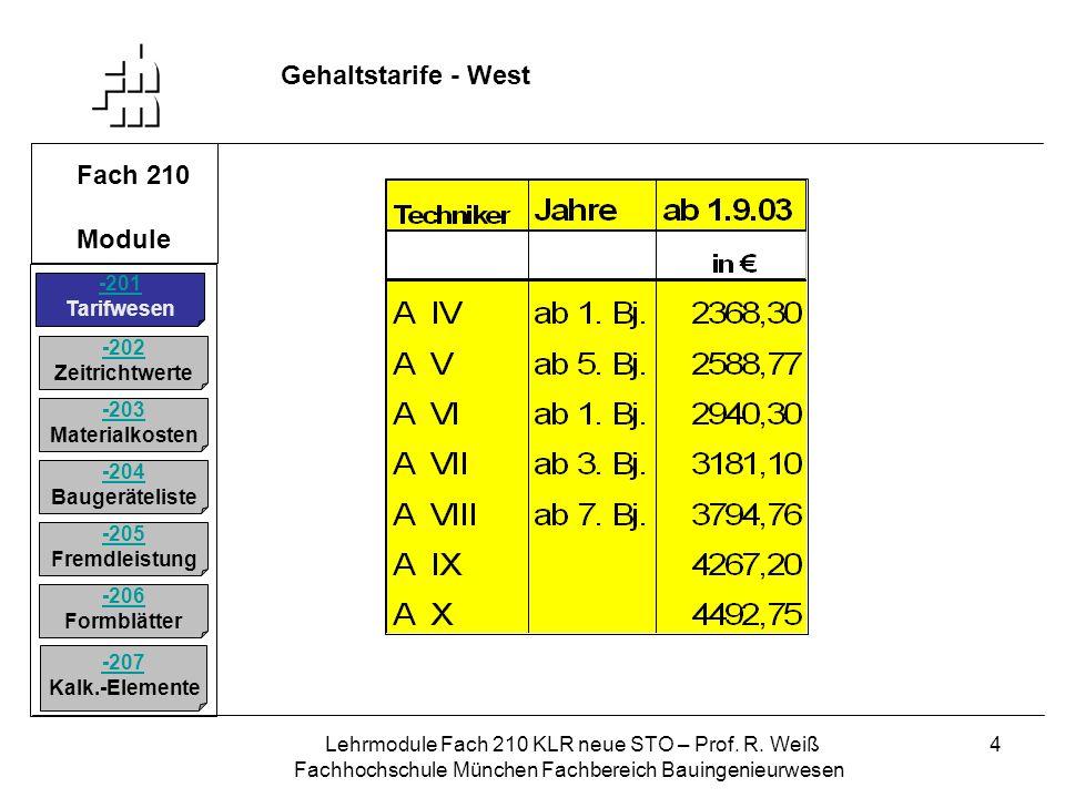 Gehaltstarife - West Fach 210 Module -201 Tarifwesen -202