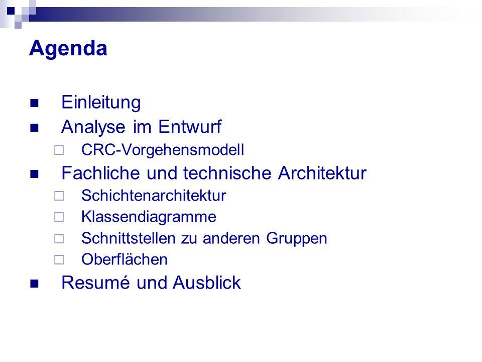 Agenda Einleitung Analyse im Entwurf