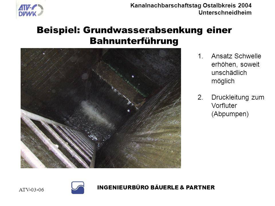 Beispiel: Grundwasserabsenkung einer Bahnunterführung