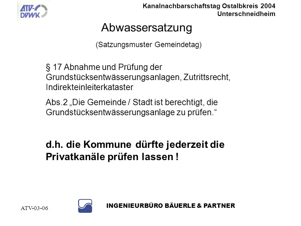 Abwassersatzung (Satzungsmuster Gemeindetag)