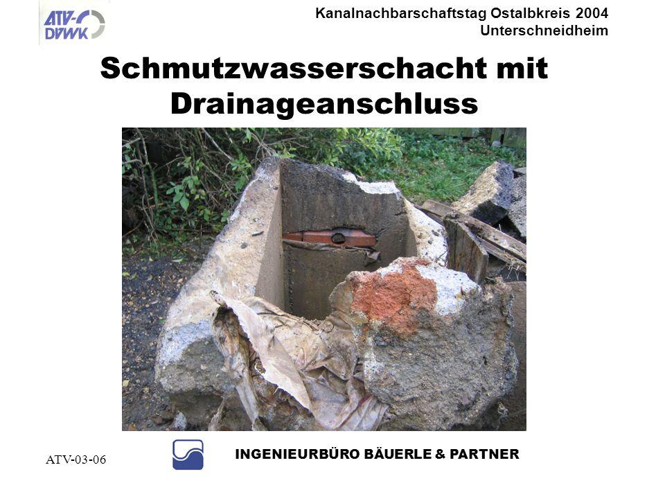 Schmutzwasserschacht mit Drainageanschluss