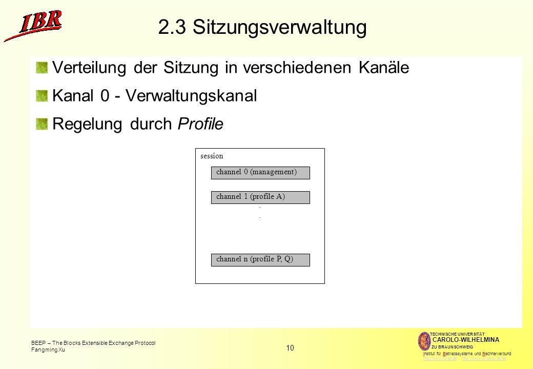 2.3 Sitzungsverwaltung Verteilung der Sitzung in verschiedenen Kanäle