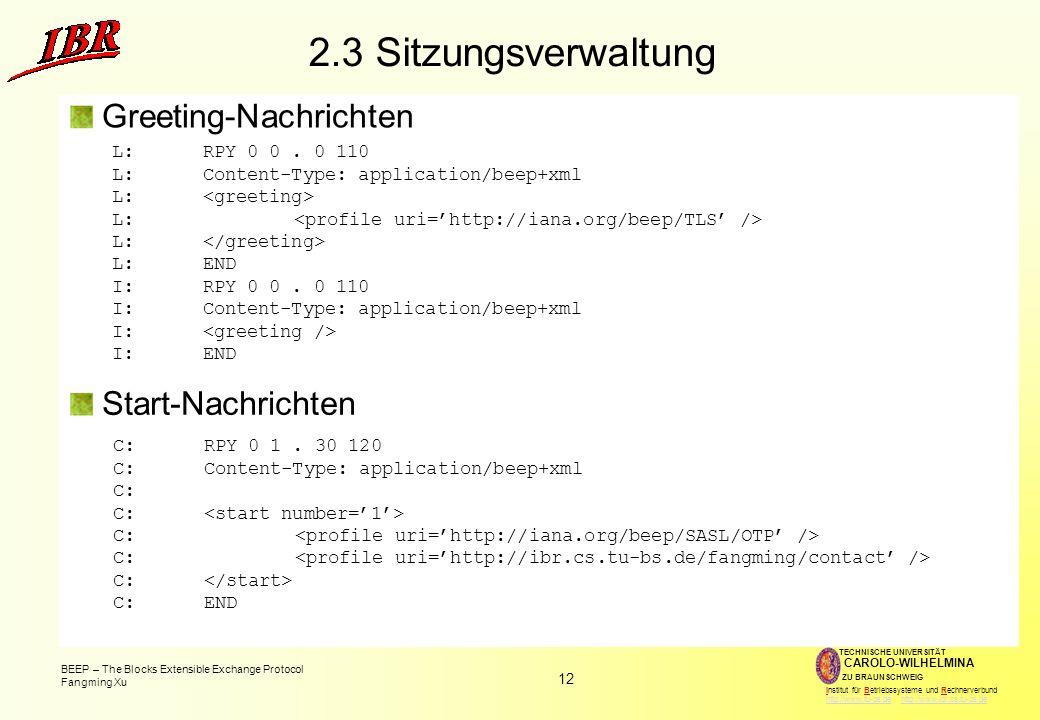 2.3 Sitzungsverwaltung Greeting-Nachrichten Start-Nachrichten