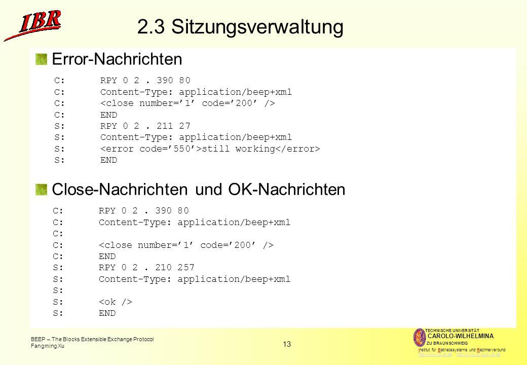 2.3 Sitzungsverwaltung Error-Nachrichten
