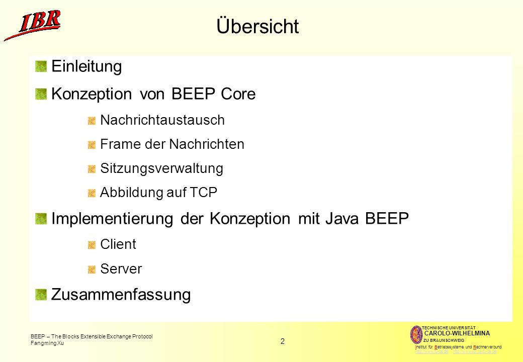 Übersicht Einleitung Konzeption von BEEP Core